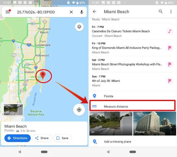 Android Google Map Measure Distance