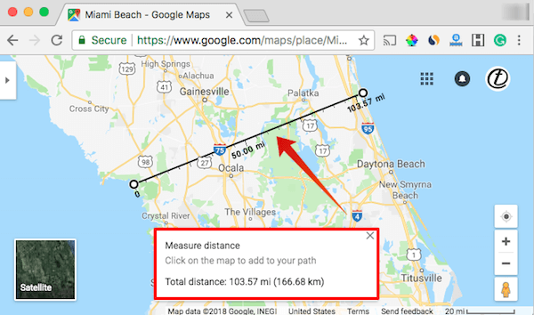 Google Map Distance Measure