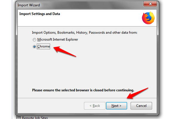 windows firefox import browser options
