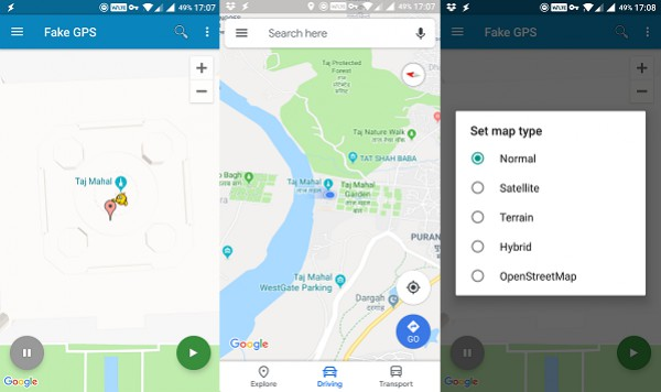 Fake GPS Location interface
