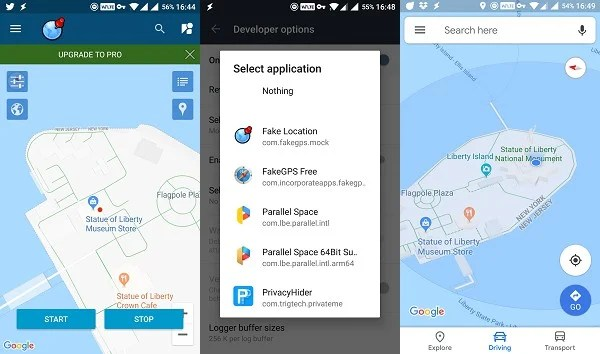 android Fake gps - fake location interface