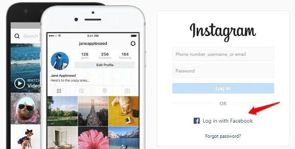 windows chrome instagram facebook login