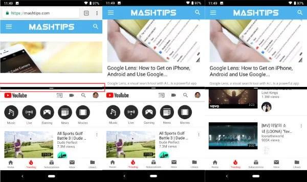 Android P Split Screen Window