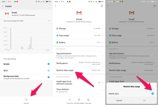 android settings restrict data