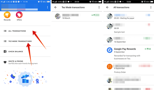 How to view all transactions in Google Pay Tez