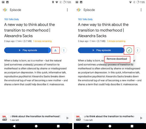 Save Google podcasts offline