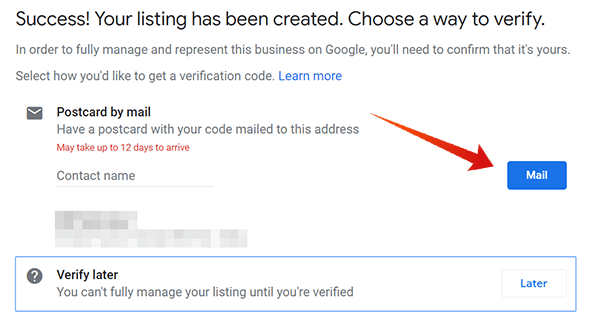 Success listing and waiting confirmation
