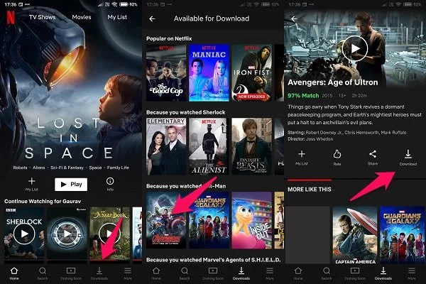 android netflix download option