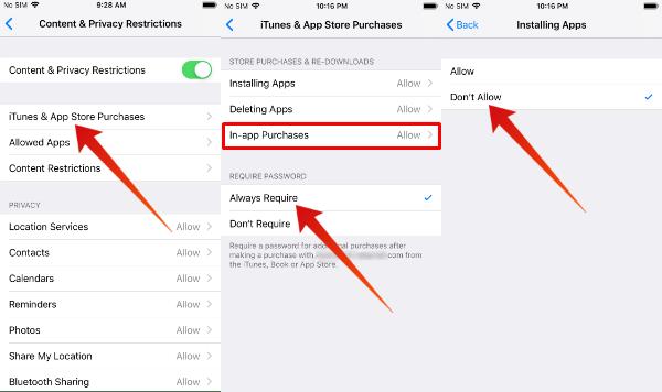 iPhone block app purchase