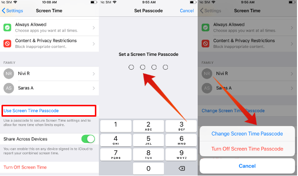 iPhone screentime passcode