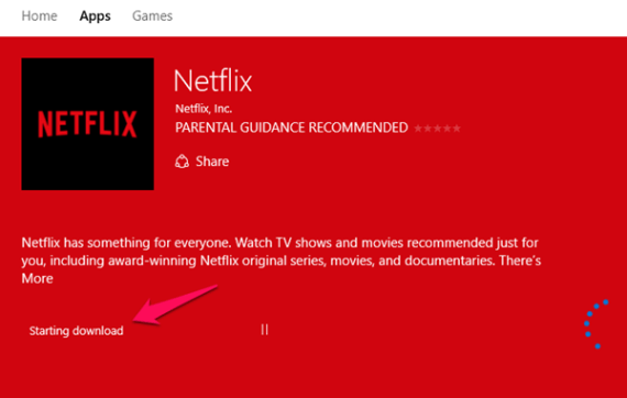 Lebenkele la Windows 10 la Netflix
