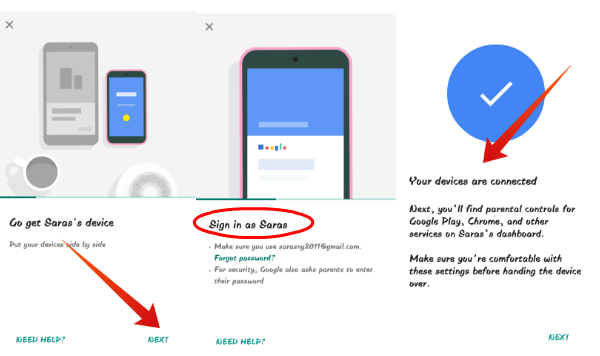 Android Family link connect child device