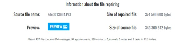 Outlook repair service. Information on data recovered from the PST file.