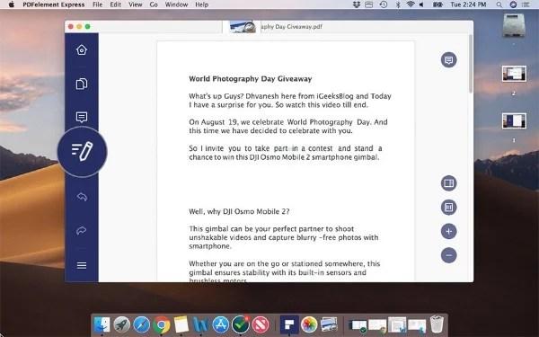 PDFElement Express Interface Mac