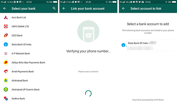 WhatsApp payment bank account add