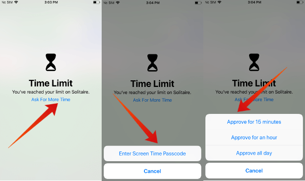iPhone additonal time limit kids