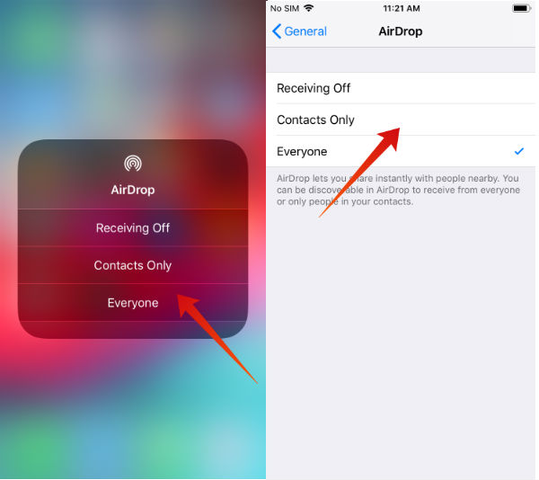iPhone airdrop on