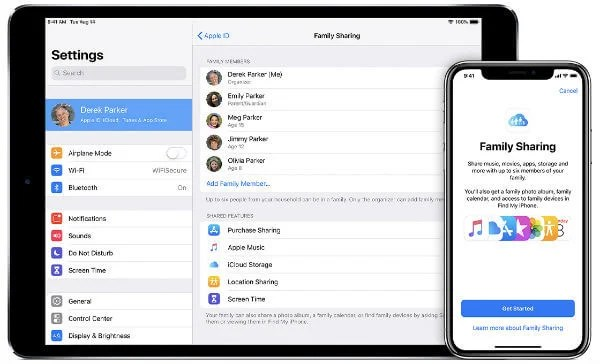 set up family sharing on ipad or iphone
