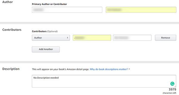 Add author details and description on Amazon Kindle