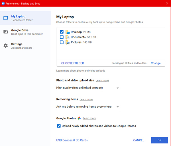 Backup Preferences Google Drive Backup and Sync on Windows