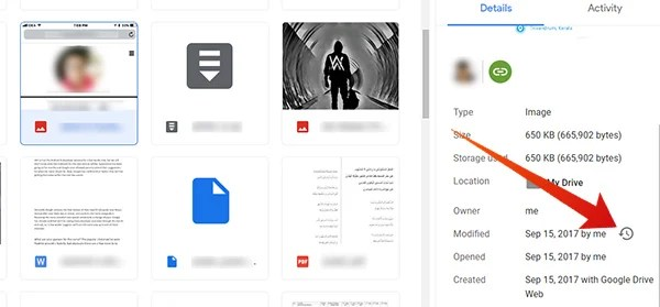 Click the previous icon button in Google Drive