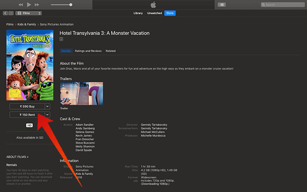 Download Movies on Mac using iTunes Buy or Rent