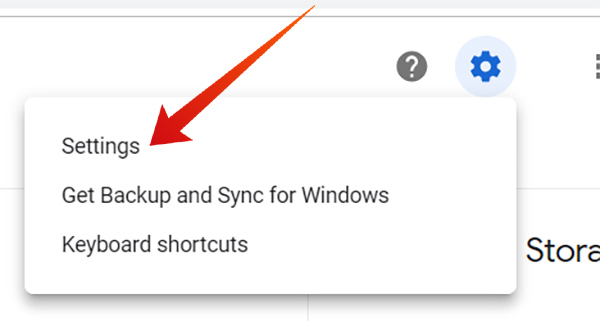 Enter Settings in Google Drive