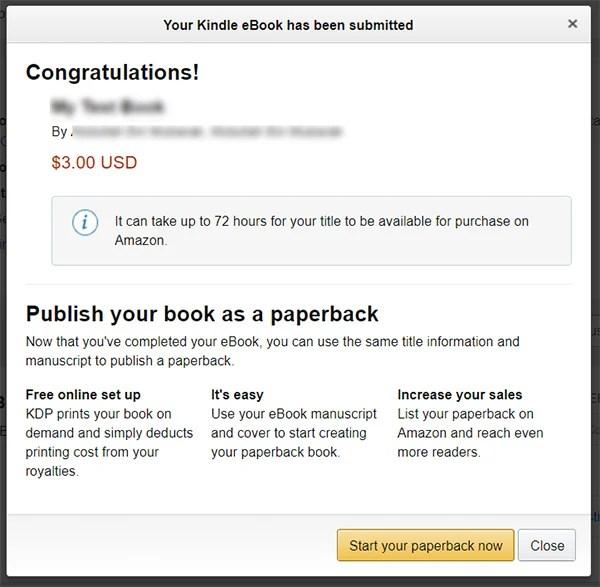 Publish an eBook on Amazon Kindle using KDP