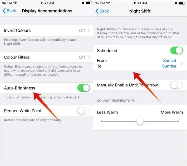 iPhone save battery auto brightness