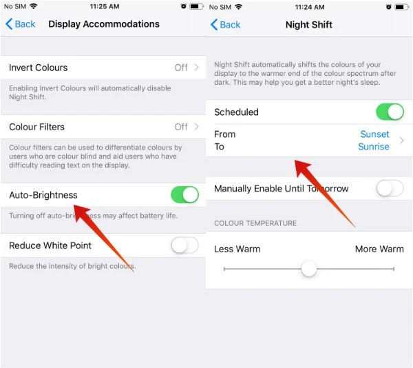 iPhone save battery auto brightness