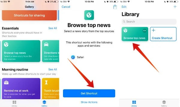 iphone add shortcut to library