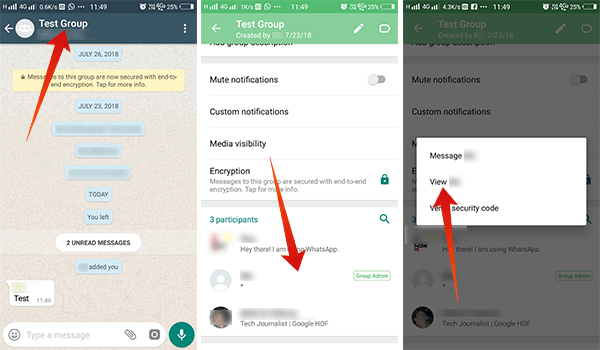 Steps to Block a WhatsApp Group Admin in Android View Contact