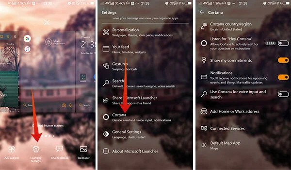 How to use Microsoft Cortana in Launcher