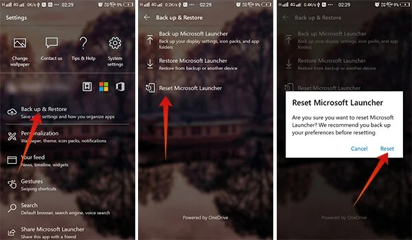Reset preferences of Microsoft Launcher on Android