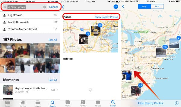iPhone photos search by location