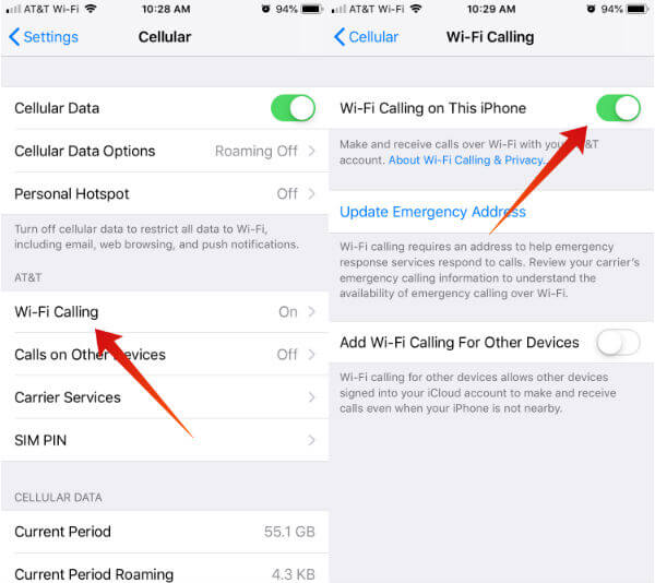 iPhone Enable Wi-Fi calling