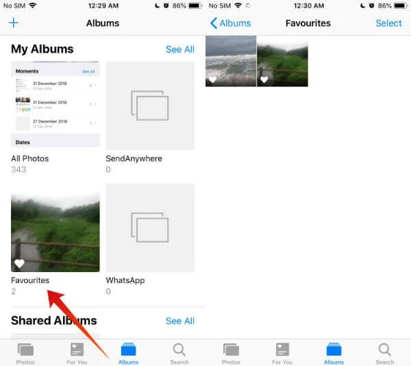 iPhone set photos as favorites