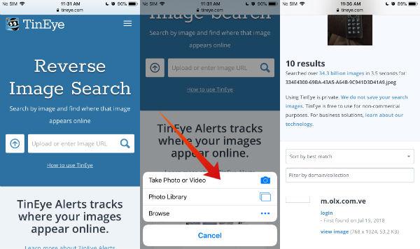iPhone tineye reverse image search