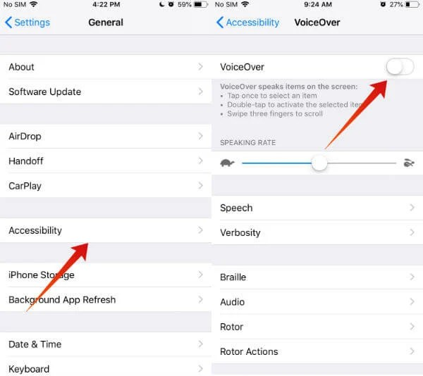 iPhone voiceover menu