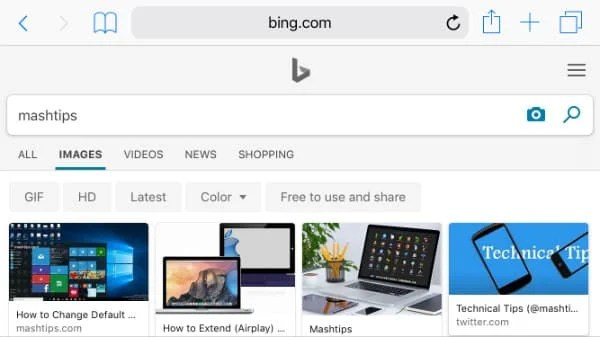 Bing Image Search iPhone