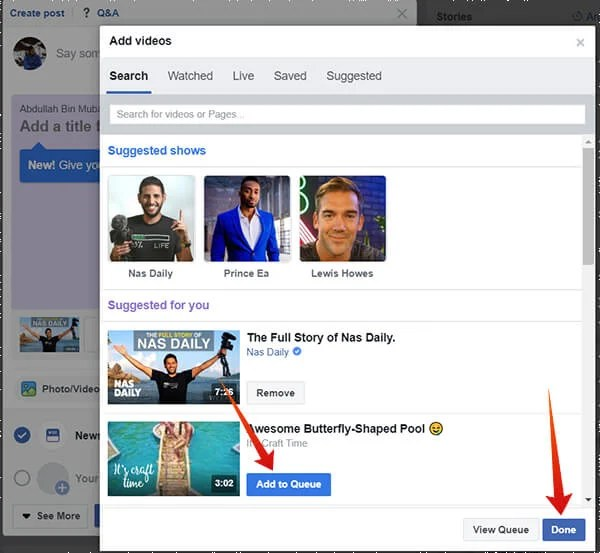 Choose videos to add in new Watch Party on Facebook