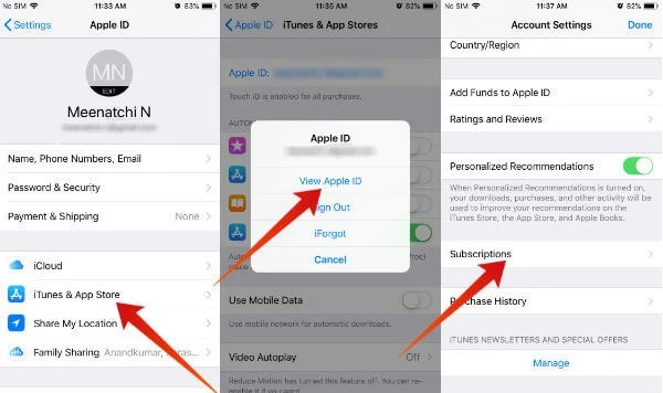 iPhone cancel subscription from settings