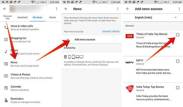 Add Indian News Sources in Google Home