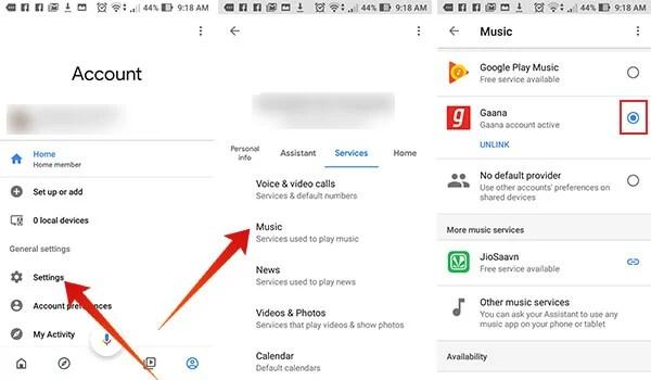 Choose default music provider on Google Home