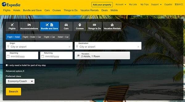 Expedia Flight Comparison Website
