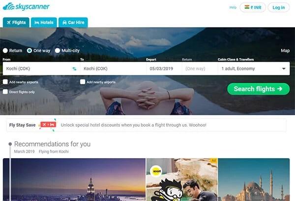 Skyscanner Website for Flight Tickets