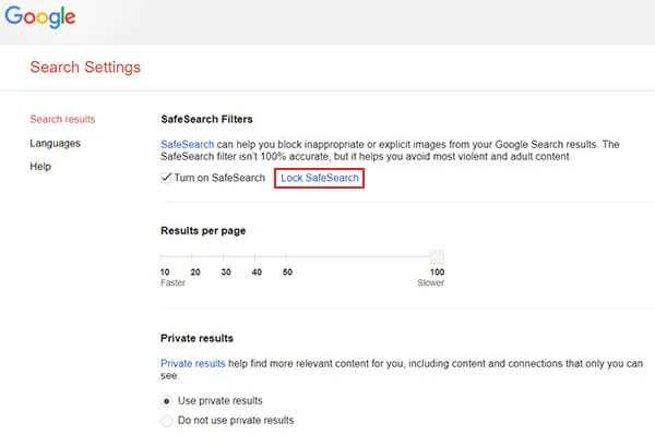 Turn on an lock safesearch from Google Search Settings