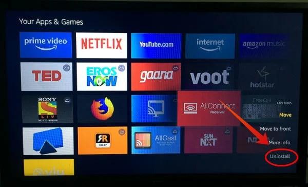 Uninstall Apps Fire TV Stick