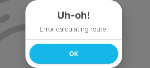 Waze Error Calculating Route Error