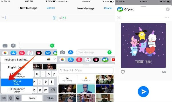 iPhone send GIF third party keyboard
